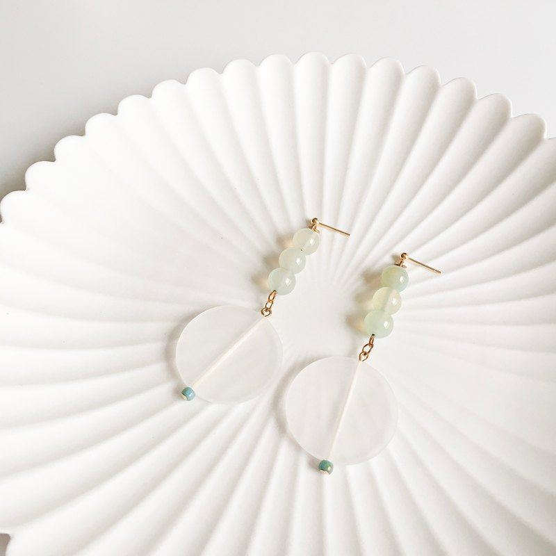 Handmade Earrings - Natural Green Agate Organ