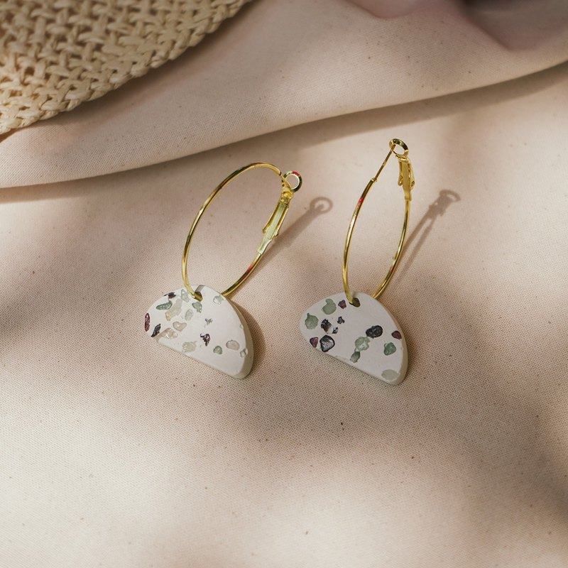Natural Stone Terrazzo Concrete Stone Shape Round Earrings