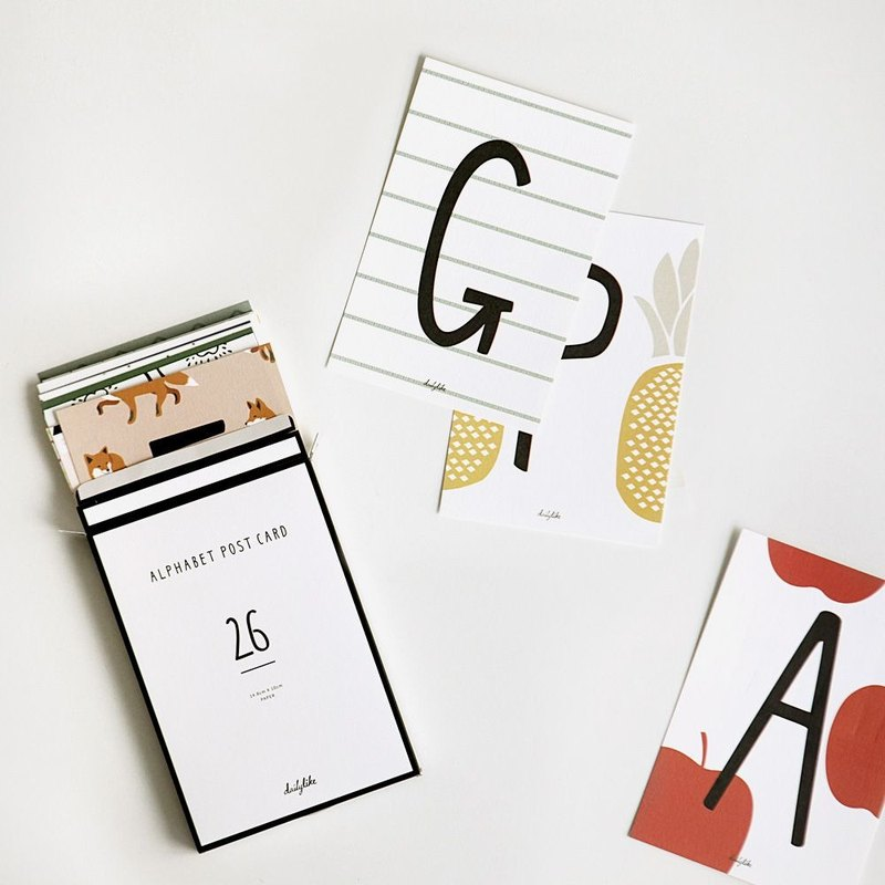 Dailylike English alphabet illustration postcard set, E2D38339