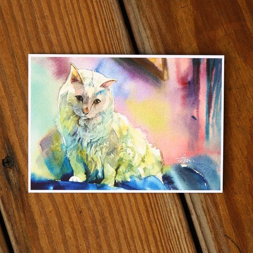 Watercolor Painted Hair Series postcard - Fantasy