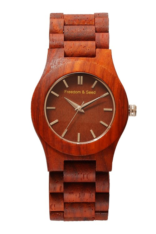 [Freedom & Seed] Japanese wood Watches: Arts series 40mm─African Padauk rosewood paragraph