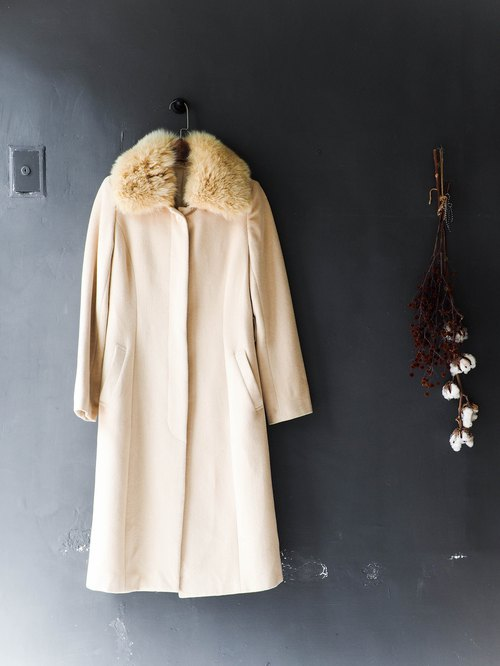 Kawashima - Kagoshima Tomoko goose yellow youth dream antique Angora rabbit wool coat coat wool fur vintage wool vintage overcoat