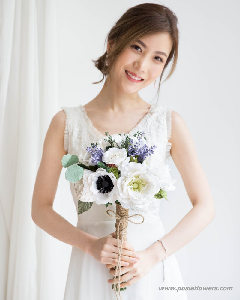 Anemone and Blue Astilbe Bridal Bouquet