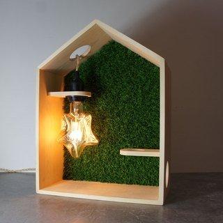 Green House | Handmade Pine Wood (FSC) with the grass wall, include the Star Light Bulb | 1-Year Warranty (Light Bulb not applied) | E27 Screw | #1 Unique Design