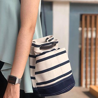 Mini Navy Stripe Canvas Bucket Bag with strap /Leather Handles /Daily use