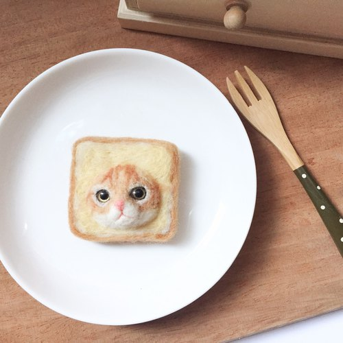 Bread meow - Miju toast wool felt pin bread cat orange wool felt brooch toast