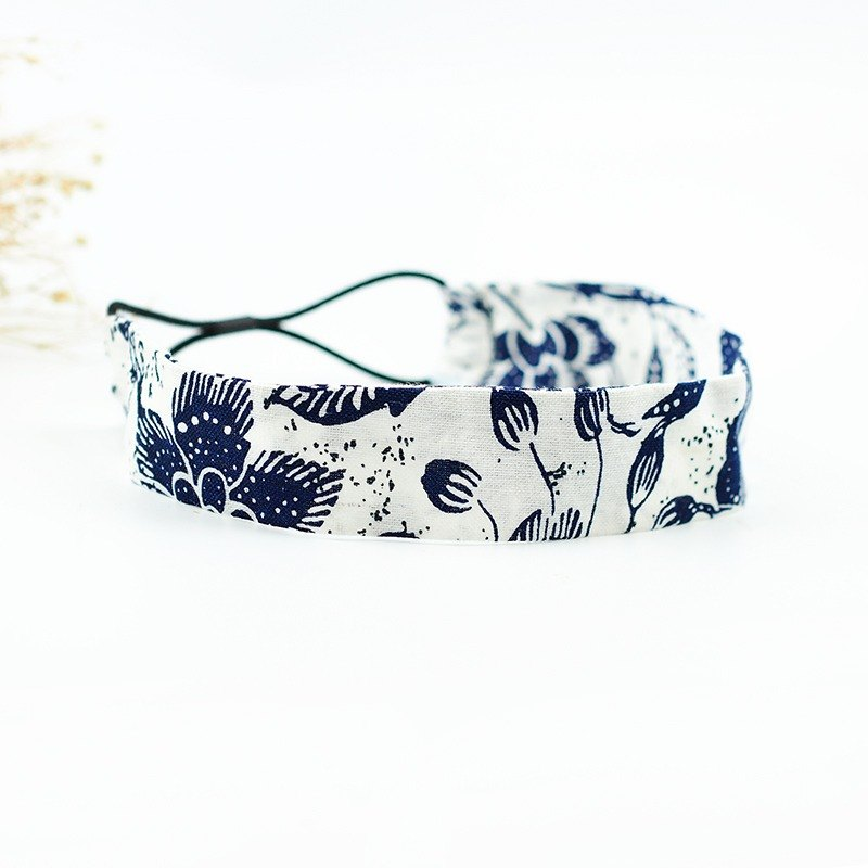 Calf Village Calf Village Handmade Hairpin Comfortable Elasticity With Breathable Cotton and Hemp [Flower Vineyard} Gray Blue [A-75]