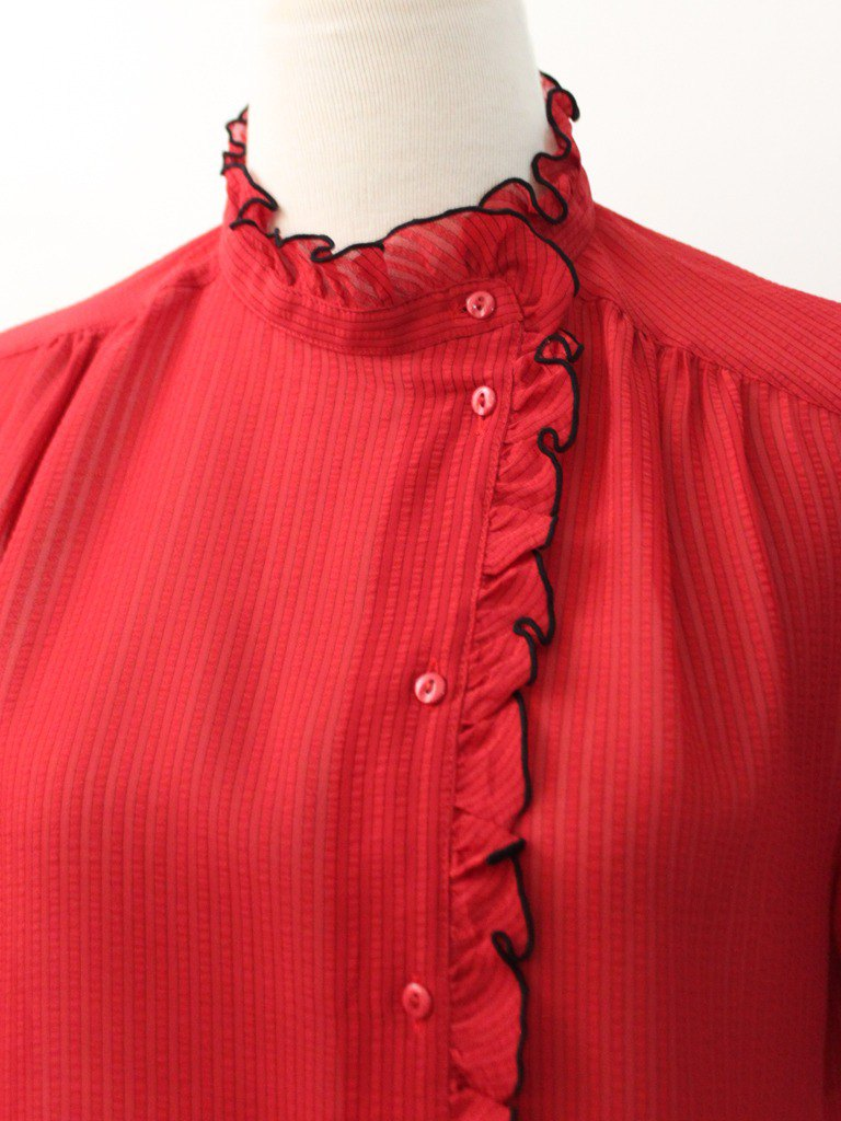 Vintage Japanese Red Striped Collar Cute Short Sleeve Vintage Shirt Vintage Blouse