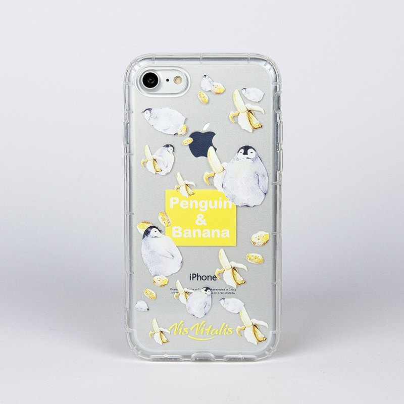 [Jug Penguin banana] transparent air soft shell / mobile phone shell