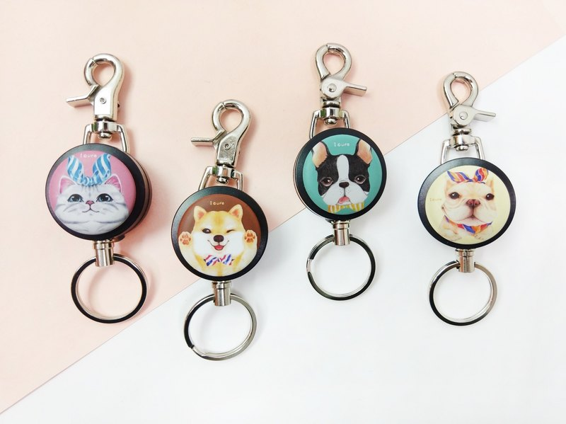 i good slip ring keychain series - illustrator Series (four) Persian Shiba Inu Boston law fight