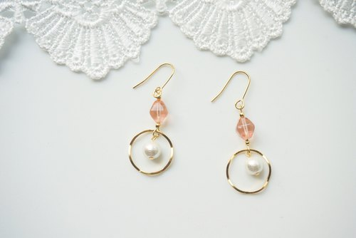 Simple design earrings - pink natural stone. (Pin / clip)