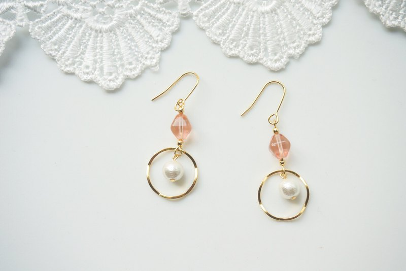 Simple design earrings - pink natural stone. (needle/clip type)
