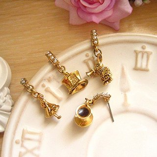 Jolie baby-Alice Tea Club Stereo Series--Crazy Hat Horn Bunny Tea Club Earrings