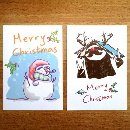 Sloth Postcard / Card - Christmas deer sloth with its pile of seaweed eyes snowman