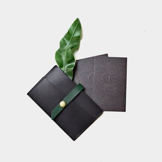 [Jungle nocturne producer] cowhide business card holder black green leather can put card leisure card credit card customer lettering when gift Valentine's Day gift