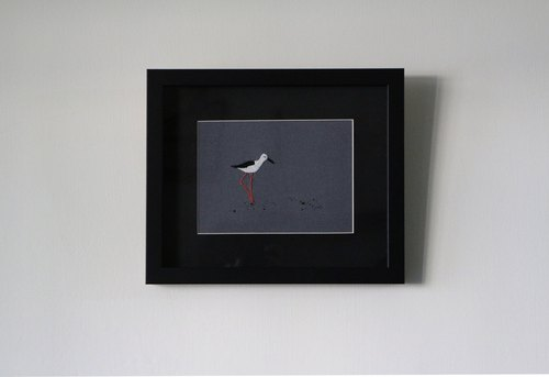 Embroidered Bird Set _ Stilts 鸻 embroidery painting