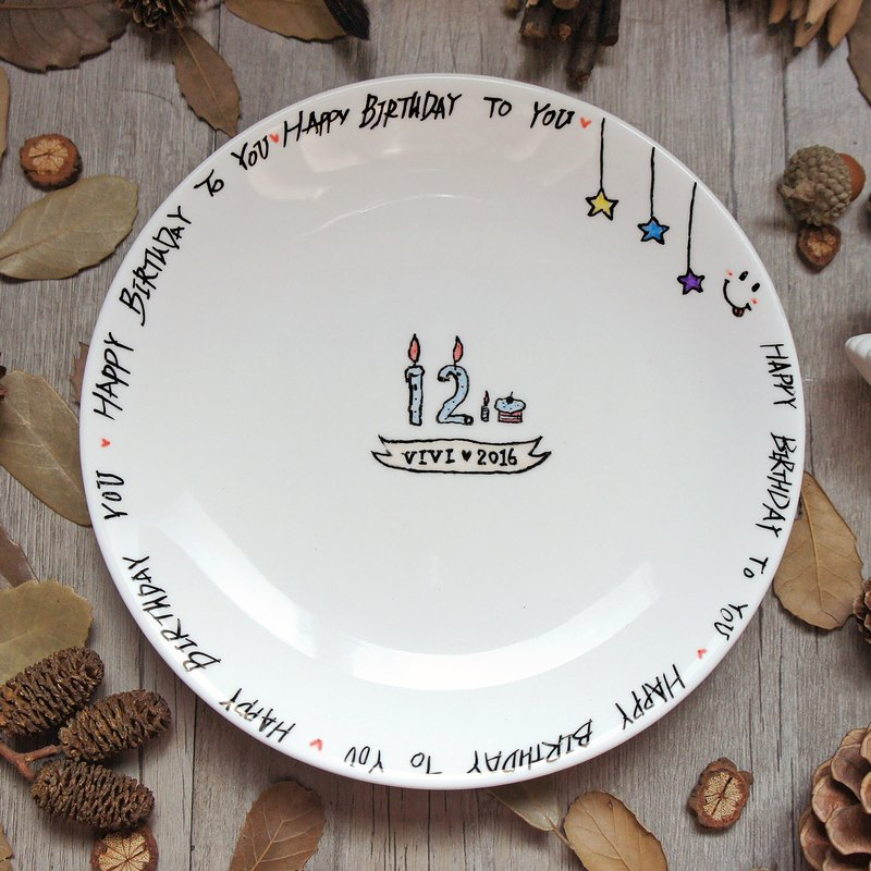 Customization / Birthday & Anniversary _ round porcelain plate (customer age or anniversary date)