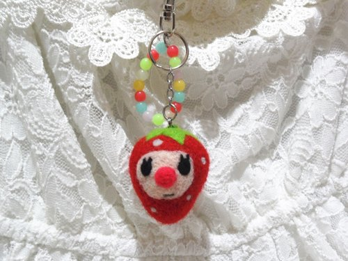 Wool Felt...100% Feel Temperature - Spot [Red Nose Strawberry Bubbles] - Pendant Keyring