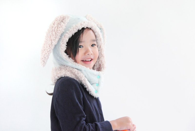 Bad temper big rabbit rabbit cap - blue raindrops - For Bobie Wu