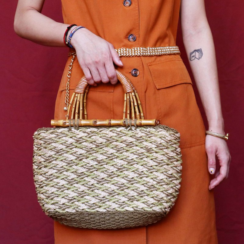 Pumpkin Vintage. Antique bamboo woven bag