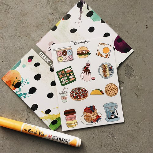 Delicious Food Sticker, Donut Sticker  and Sushi Roll Stickers Fast Delivery, 美味,食物,不干膠標籤,甜甜圈貼紙,壽司卷,貼紙  快速到貨