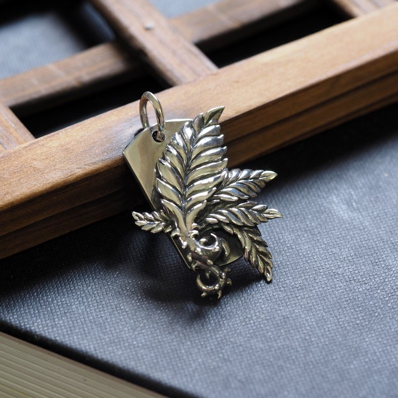 生- Fern Leaf Military Pendant 925 Sterling Silver Necklace Pendant