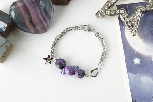 Pantone Color of the Year 2018 Inspired: Ultra Violet, Charoite Stone Bracelet