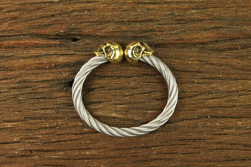 F.T.W Skull Bangle-6mm(Brass Skull) F.TW骷髏 6MM鋼索手環(黃銅骷髏版)