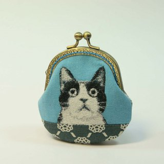 Embroidery 8.5cm Gold Coin Purse 23 - Black and White Cat