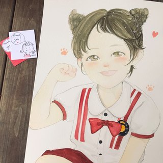 ◆ SS. Yan Feng Huaqiu ◆ A3 size single (delicate style) children's watercolor hand-painted photo cartoon portrait painting