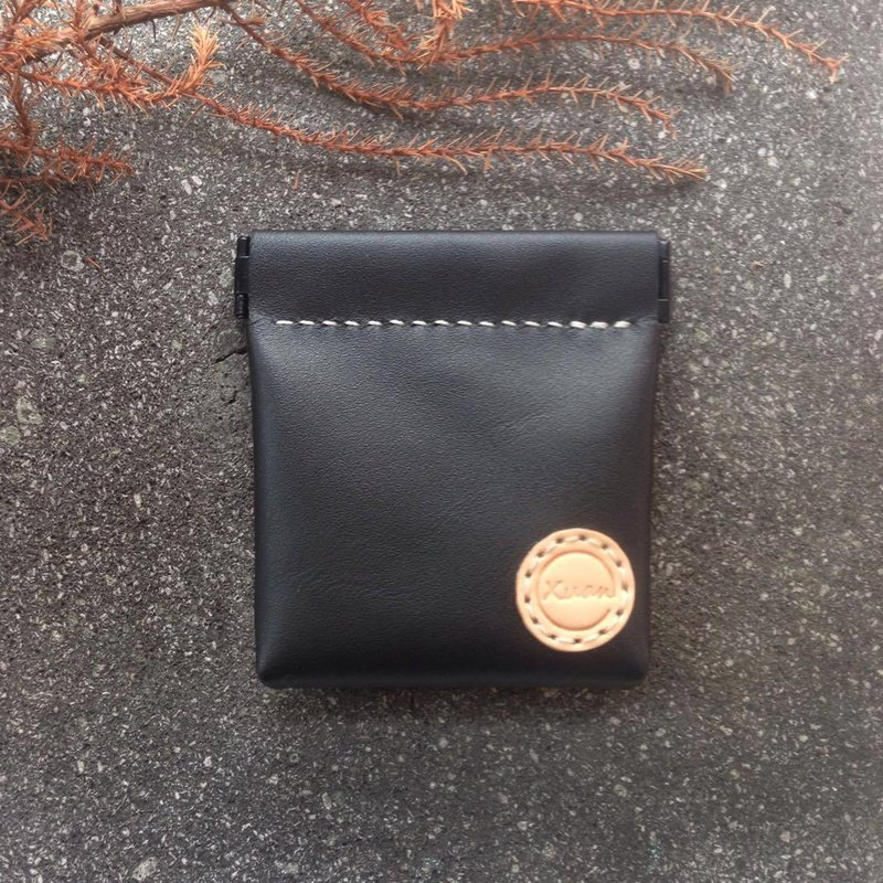 Xuan Leather Snap Coin Purse Square - Black Sheepskin