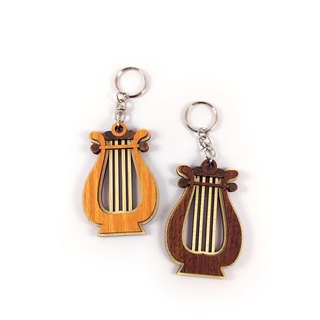 Wood carving key ring - harp