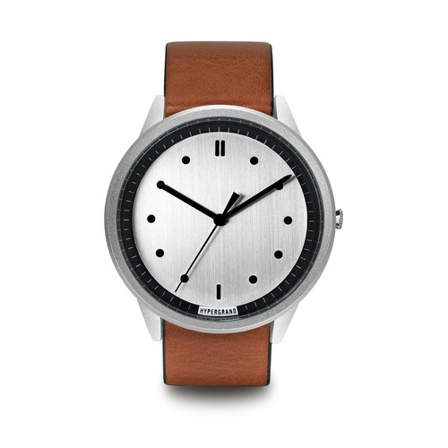HYPERGRAND - 02 Basic Collection - Silver Dial Honey Leather Watch