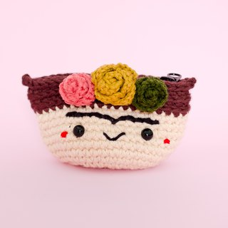 Crochet Coin Purse - Frida Kahlo No.6 | Crochet Coin Case | Small Round Pouch