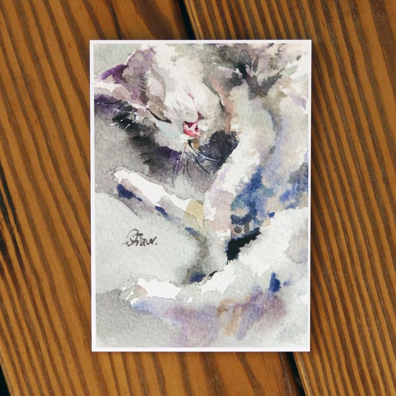 Water hairy child painting series Postcards <lazy cat>