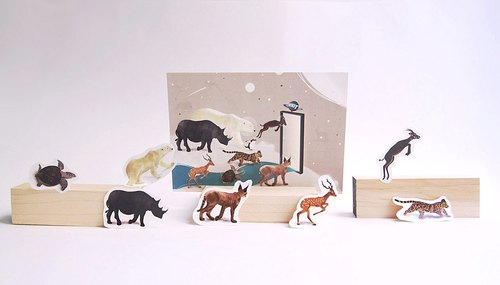 Animal illustration Postcard (1set:Postcard+Stickers)
