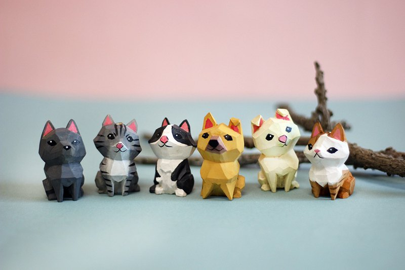 Formosan Dogs & Cats Wood-Carved Figurines-6 in 1
