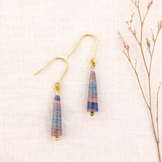 MUSEV dark blue pink orange gradient awl earrings