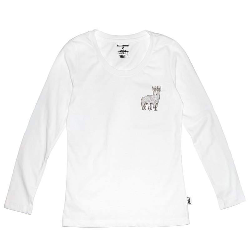 British Fashion Brand [Baker Street] Two-headed Alpaca Printed Long Sleeve