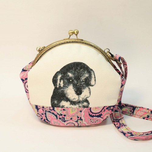 Embroidery 20cmU Gold Crossbody 07 - Schnauzer