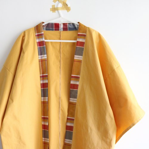 [Handmade clothes] It seems to be called a mustard yellow Japanese kimono jacket
