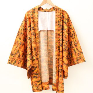 Vintage Japanese made orange night maple leaf and wind print vintage feather kimono jacket blouse cardigan Kimono