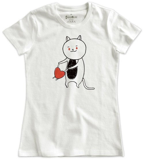 Classic white short-sleeved T-shirt _ dance with love