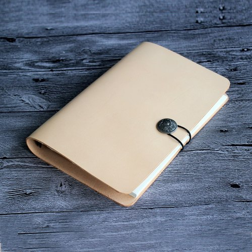 2018 Handbags, such as the first layer of vegetable tanned cowhide beige a5 loose-leaf notebook hand-leather notepad free lettering 23.5 * 16cm