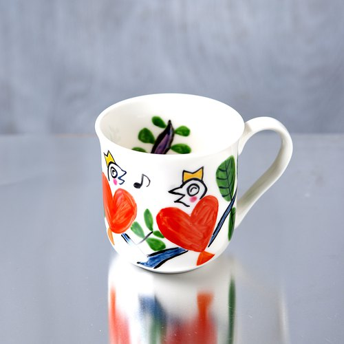 Red Heart Bird Mug Cup Talking in the Tree