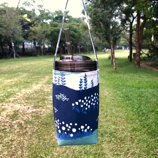Tulip garden cotton cloth drink bag 720ml wide mouth mason cup with cup lid straw
