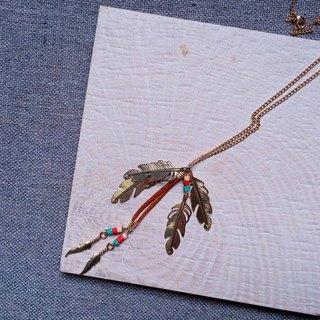 Antique feather single pendant chain