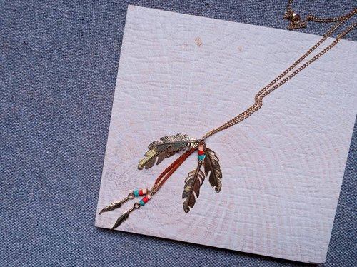 Single product antique feather pendant chain