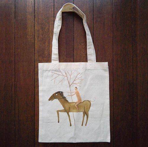 Hand-painted one point cotton bag horse illustrations