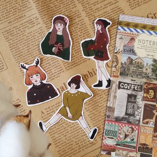 Matte texture sticker / Christmas girl (4 pieces) / Christmas exchange gift